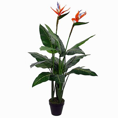 Künstliche Pflanze Strelitzia Orange - H 110 cm - Kunststofftopf - Mica Decorations