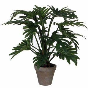 Mica Decorations - Kunstplant Philodendron Selloum groen - H 50cm - Keramiek stenen sierpot grijs-antraciet