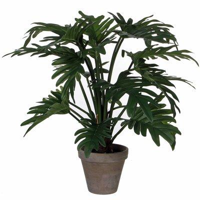 Kunstplant Philodendron Selloum Groen - H 50cm - Keramiek sierpot - Mica Decorations