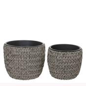 Mica Decorations - Set van 2 gevlochten kunststof potten 'Grimes' - Grijs