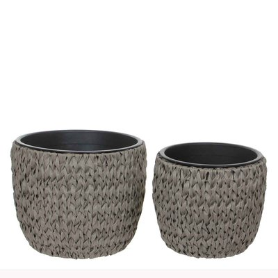 Mica Decorations - Set van 2 kunststof potten 'Grimes' - Grijs