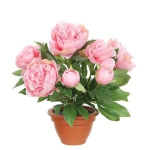 Kunstplant Pioenroos Roze - H 50cm - Terracotta sierpot - Mica Decorations