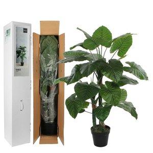 Kunstplant Taro Groen - H 120cm - Kunststof pot - Mica Decorations