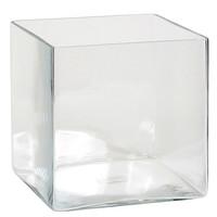 Handgemaakte glazen accubak Britt, vierkant 25cm, transparant