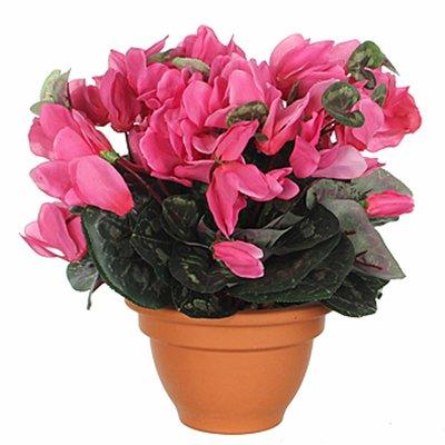 Künstliche Pflanze Alpenveilchen Hellrosa - H 28cm - Terrakottatopf - Mica Decorations