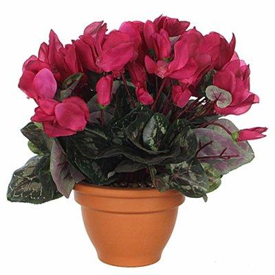 Künstliche Pflanze Alpenveilchen Dunkelrosa - H 28cm - Terrakottatopf - Mica Decorations