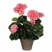Kunstplant Geranium lichtroze - H 34cm - Keramiek sierpot - Mica Decorations