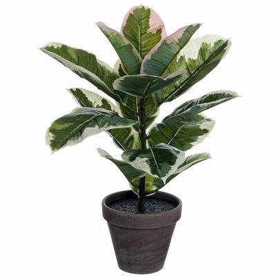 Kunstplant Ficus Groen - H 47cm - Keramiek sierpot - Mica Decorations