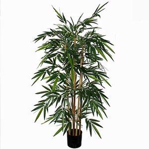 Kunstplant Bamboe Groen - H 150cm - Kunststof pot - Mica Decorations