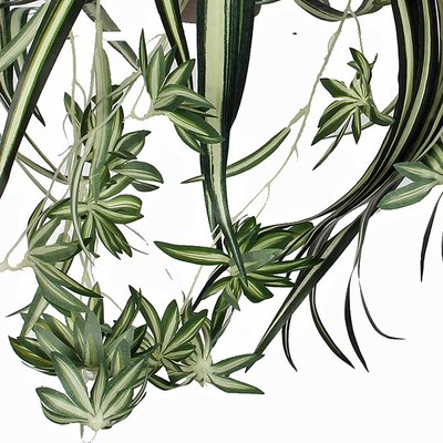 Künstliche Pflanze Chlorophytum Grün-bunt - L 45cm - Keramiktopf - Mica Decorations