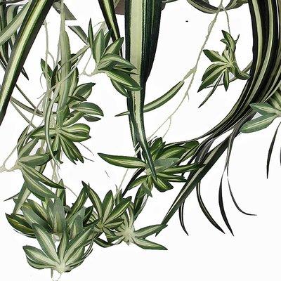 Kunstplant Chlorophytum Groen-bont - L 45cm - Keramiek sierpot - Mica Decorations