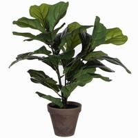 Kunstplant Ficus Lyrata Tabaksplant Groen - H 35cm - Keramiek sierpot - Mica Decorations