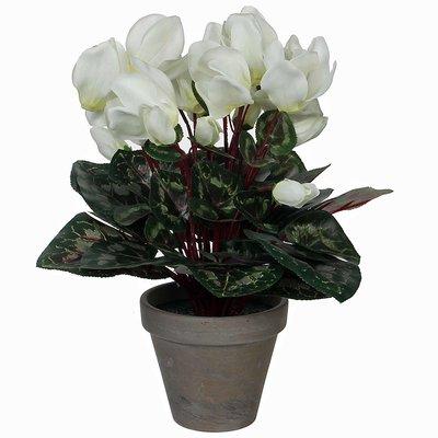 Künstliche Pflanze Alpenveilchen Weiß - H 30 cm - Keramiktopf - Mica Decorations