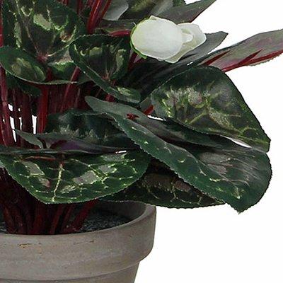 Kunstplant Cyclaam Wit - H 30cm - Keramiek sierpot - Mica Decorations