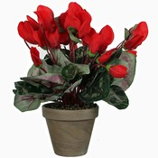 Kunstplant Cyclaam Rood - H 30cm - Keramiek sierpot - Mica Decorations