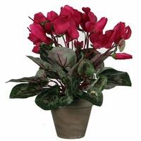Kunstplant Cyclaam Donkerroze - H 30cm - Keramiek sierpot - Mica Decorations