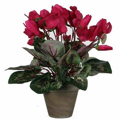 Künstliche Pflanze Alpenveilchen Dunkelrosa - H 30 cm - Keramiktopf - Mica Decorations
