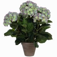 Künstliche Pflanze Hortensie Hellviolet - H 45cm - Keramiktopf - Mica Decorations