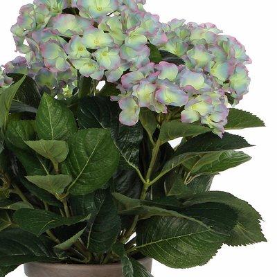 Kunstplant Hortensia Lichtpaars- H 45cm - Keramiek sierpot - Mica Decorations