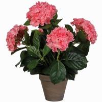 Künstliche Pflanze Hortensie Rosa - H 45cm - Keramiktopf - Mica Decorations