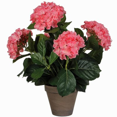 Kunstplant Hortensia Roze - H 45cm - Keramiek sierpot - Mica Decorations