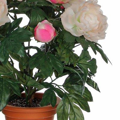 Kunstplant Pioenroos Zalm - H 50cm - Keramiek sierpot - Mica Decorations