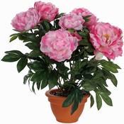 Kunstplant Pioenroos Roze - H 50cm - Keramiek sierpot - Mica Decorations