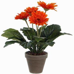 Kunstplant Gerbera Oranje - H 35cm - Keramiek sierpot - Mica Decorations