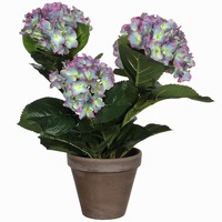 Kunstplant Hortensia Lichtpaars - H 40cm - Keramiek sierpot - Mica Decorations