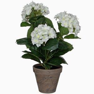 Künstliche Pflanze Hortensie Weiß - H 40 cm - Keramiktopf - Mica Decorations