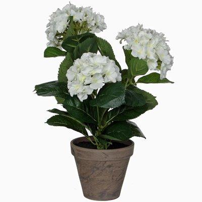 Kunstplant Hortensia Wit - H 40cm - Keramiek sierpot - Mica Decorations