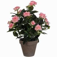 Kunstplant Rozenstruik Roze - H 33cm - Keramiek sierpot - Mica Decorations