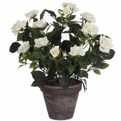 Künstliche Pflanze Rosebush Weiß - H 33cm - Keramiktopf - Mica Decorations