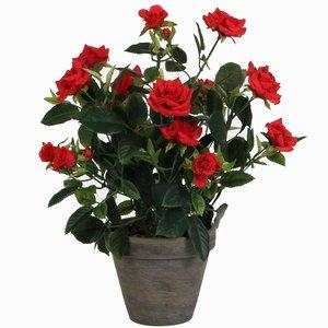 Künstliche Pflanze Rosebush Rot - H 33cm - Keramiktopf - Mica Decorations