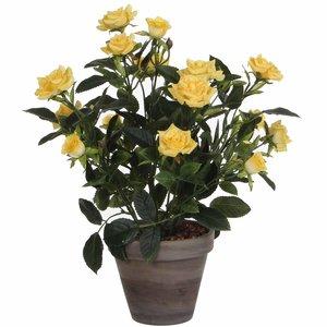 Künstliche Pflanze Rosebush Gelb - H 33cm - Keramiktopf - Mica Decorations