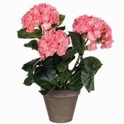 Kunstplant Hortensia Roze - H 40cm - Keramiek sierpot - Mica Decorations