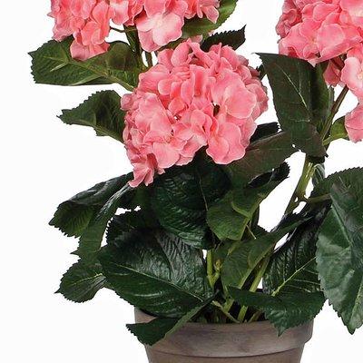 Künstliche Pflanze Hortensie Rosa - H 40 cm - Keramiktopf - Mica Decorations
