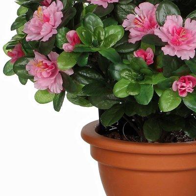 Kunstplant Azalea Roze - H 35cm - Terracotta sierpot - Mica Decorations