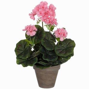 Künstliche Pflanze Geranie Rosa - H 34 cm - Keramiktopf - Mica Decorations
