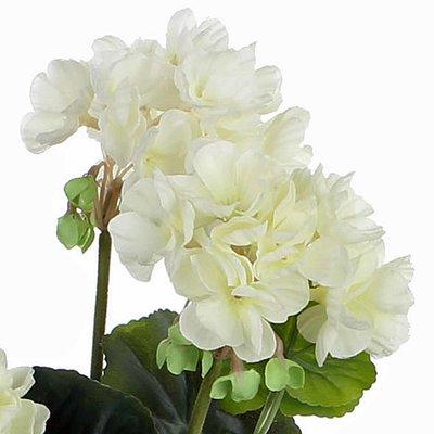 Künstliche Pflanze Geranie Cremeweiß - H 34 cm - Keramiktopf - Mica Decorations