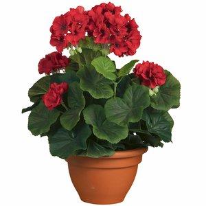 Kunstplant Geranium Rood - H 35cm - Keramiek sierpot - Mica Decorations