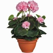 Künstliche Pflanze Geranie Rosa - H 35 cm - Keramiktopf - Mica Decorations