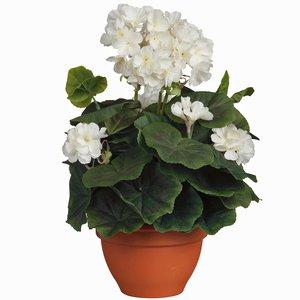 Kunstplant Geranium Crèmewit - H 35cm - Keramiek sierpot - Mica Decorations