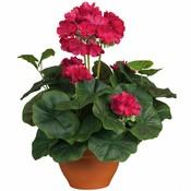 Künstliche Pflanze Geranie Dunkelrosa - H 35 cm - Keramiktopf - Mica Decorations