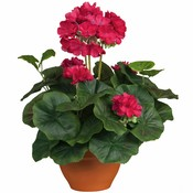 Kunstplant Geranium Donkerroze - H 35cm - Keramiek sierpot - Mica Decorations