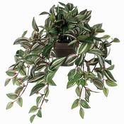Künstliche Pflanze Tradescantia Grünbunt - L 45cm - Keramiktopf - Mica Decorations