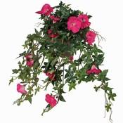 Kunstplant Petunia Donkerroze - L 50cm - Keramiek sierpot - Mica Decorations