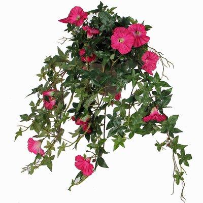 Künstliche Pflanze Petunie Dunkelrosa - L 50cm - Keramiktopf - Mica Decorations