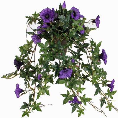 Kunstplant Petunia Donkerpaars - L 50cm - Keramiek sierpot - Mica Decorations