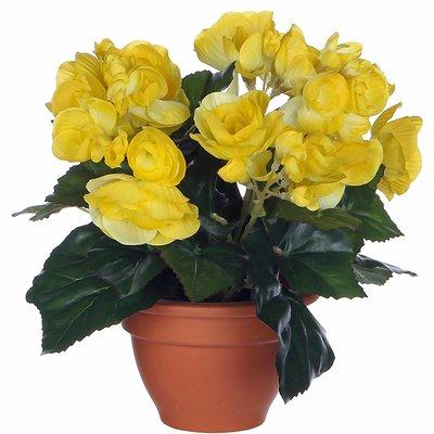 Kunstplant Begonia Geel - H 25cm - Terracotta sierpot - Mica Decorations